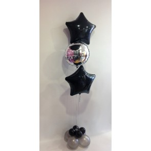 Black & Silver Graduation Star Foil Balloon Bouquet