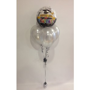 Hats off Grad Silver Balloon Bundle