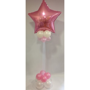 Age 60 Pale Pink and White Star Statement Piece