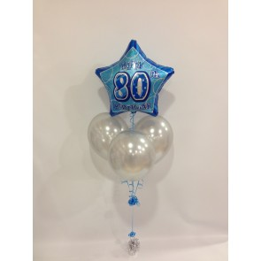 Age 80 Blue Glitz Balloon Bundle