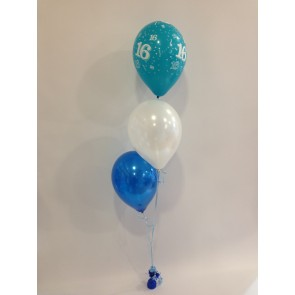 Age 16 Blue 3 Latex Staggered Balloon Bouquet