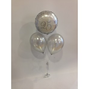 Silver Wedding Anniversary Balloon Bunch