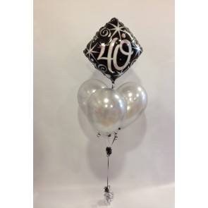 Age 40 Black and Silver Balloon Bundle