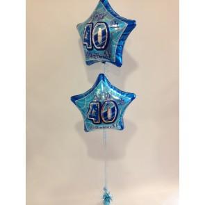 Age 40 Blue Double Foil Bouquet