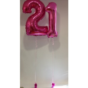 Large Pink 21 Balloon Numbers