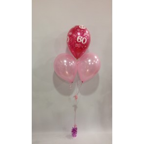 Age 60 Hot Pink and Pale Pink 3 Latex Pyramid Balloon Bouquet