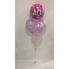 Age 40 Pink and Lilac Balloon Bundle