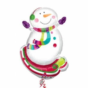 Smiley Snowman Supershape Foil Balloon