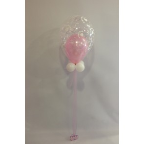 Just Married Pink and White Double Bubble with Tulle