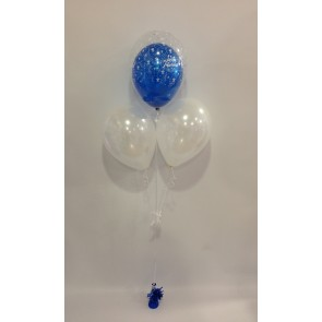 Saphire Blue Just Married Double Bubble Balloon Bouquet