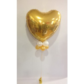 Large Gold Heart Foil with Double Collar