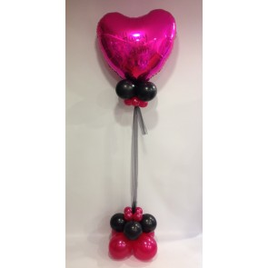 Age 40 Hot Pink & Black Large Heart Statement Piece