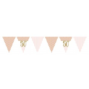 Age 50 Rose Gold and Pale Pink Bunting