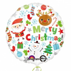 Merry Christmas Icons Foil Balloon