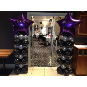 Black, Silver and Purple Star Balloon Columns