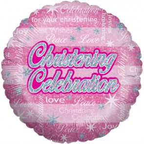 Pink Christening Celebration Foil Balloon
