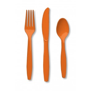 Orange Plastic Cutlery