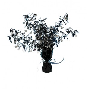 Black and Silver Happy Birthday Centerpiece