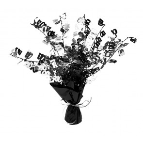 Age 40 Black and Silver Centerpiece