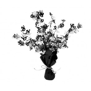 Age 50 Black and Silver Centerpiece