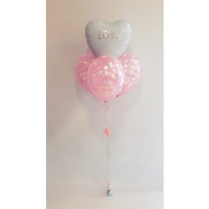 Personalised Heart Foil and 3 Latex Christening Bouquet