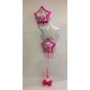 Age 16 Pink & White Star Foil Balloon Bouquet with Double Balloon Base