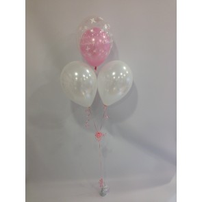 Pink Butterfly Christening Double Bubble Bouquet