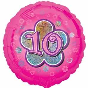Age 10 Pink Flowers Foil Balloon