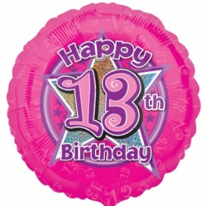 Age 13 Pink Flowers Foil Balloon