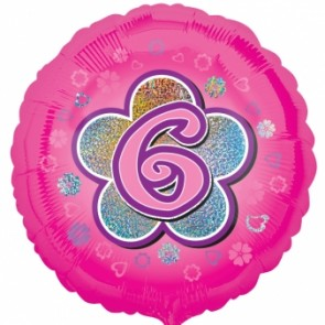 Age 6 Pink Flowers Foil Balloon