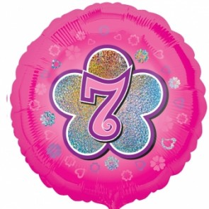 Age 7 Pink Flowers Foil Balloon