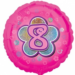 Age 8 Pink Flowers Foil Balloon