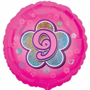 Age 9 Pink Flowers Foil Balloon