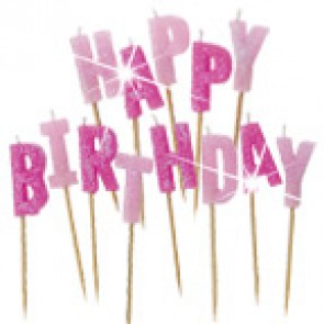 Pink Glitter Happy Birthday Pick Candles