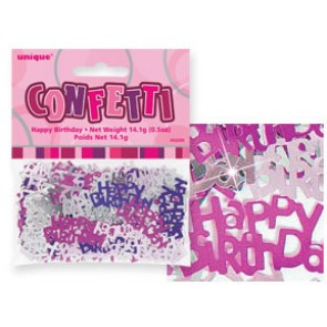 Pink Glitz Happy Birthday Confetti