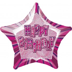 Pink Glitz Happy Birthday Foil Balloon