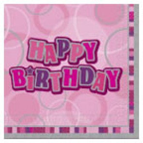 Pink Glitz Happy Birthday Paper Napkins