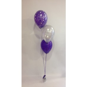 Purple and Silver Engagement 3 Latex Staggered Bouquet