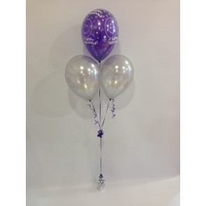 Purple and Silver Retirement 3 Latex Pyramid Bouquet