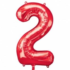 Number 2 Red Super Shape Foil Balloon