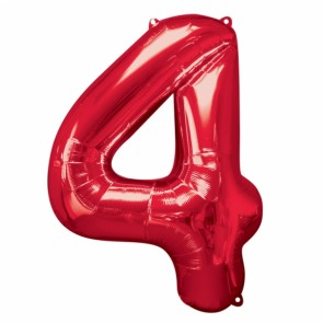 Number 4 Red Super Shape Foil Balloon