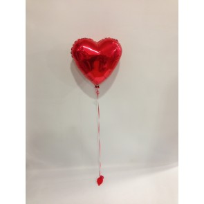A Single Red Loveheart Foil Balloon