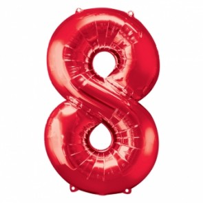 Number 8 Red Super Shape Foil Balloon