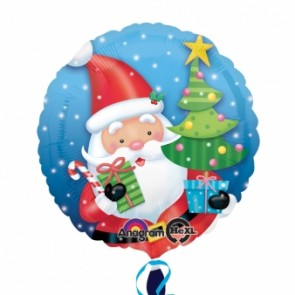 Santa With Tree Foil Balloon