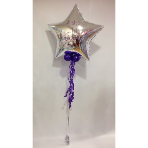 Age 21 Large Silver Star Foil Balloon with Ribbon
