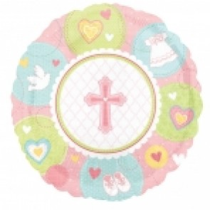 Pink Sweet Christening Blue Foil Balloon
