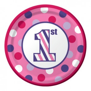 Sweet Stripes Girl Paper Plates