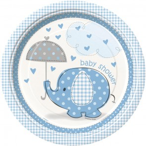 Umbrellaphants Blue Paper Plates